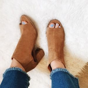 Lucky Brand Shoes - Lucky Brand Keight Suede Open Toe Bootie Sandal ✨